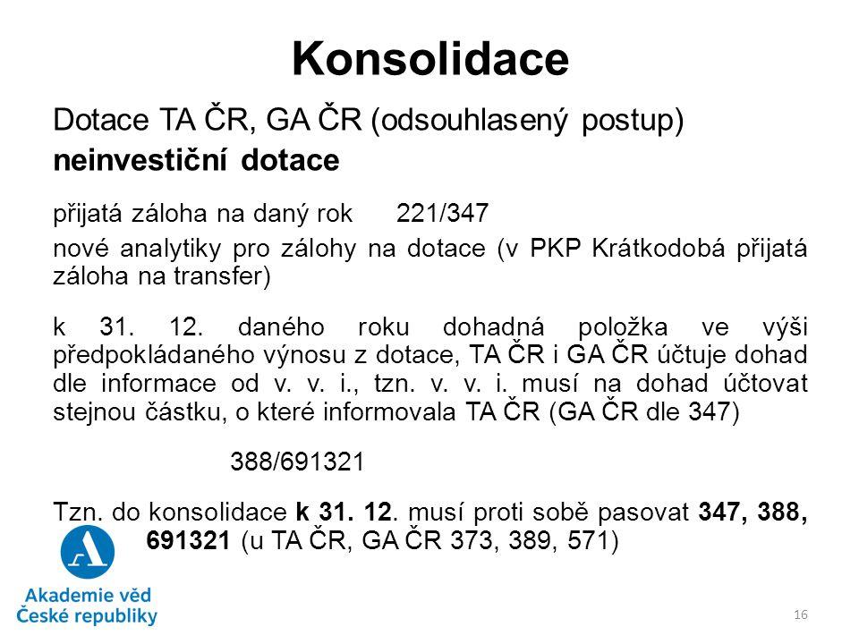 Konsolidace Dotace TA ČR, GA ČR (odsouhlasený postup) neinvestiční dotace přijatá záloha na daný rok 221/347 nové analytiky pro zálohy na dotace (v PK