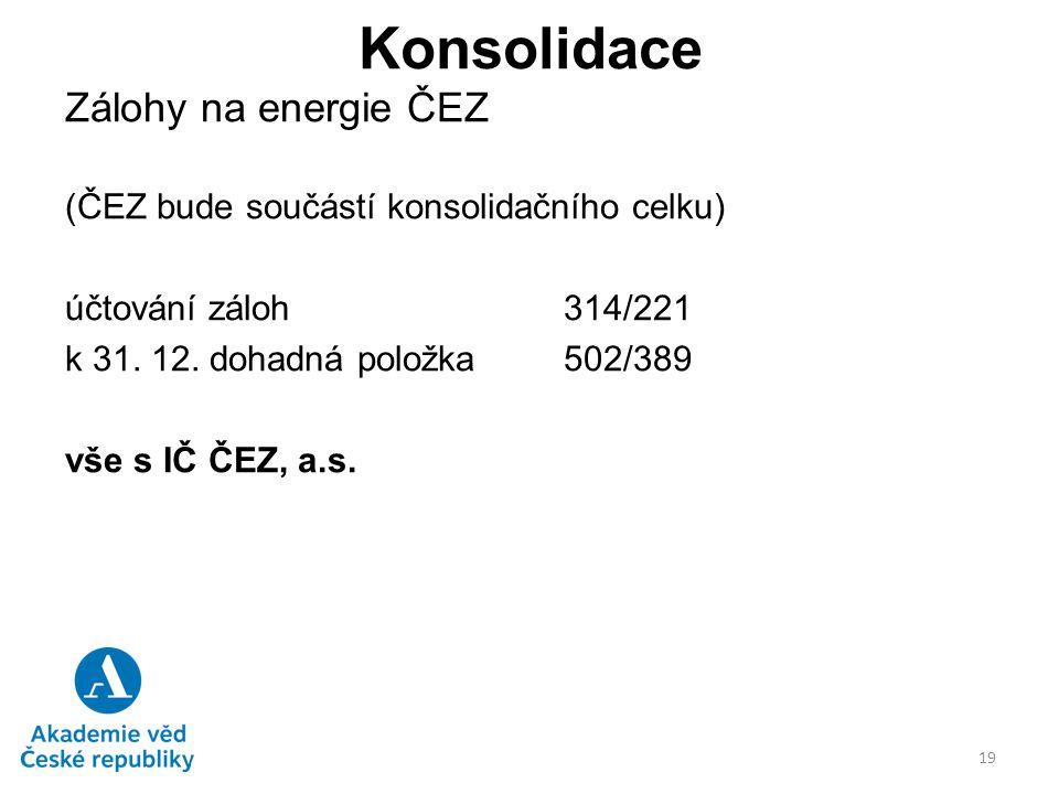 Konsolidace Zálohy na energie ČEZ (ČEZ bude součástí konsolidačního celku) účtování záloh314/221 k 31. 12. dohadná položka502/389 vše s IČ ČEZ, a.s. 1