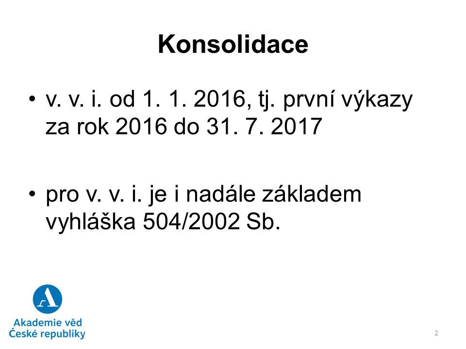 Konsolidace v. v. i. od 1. 1. 2016, tj. první výkazy za rok 2016 do 31. 7. 2017 pro v. v. i. je i nadále základem vyhláška 504/2002 Sb. 2