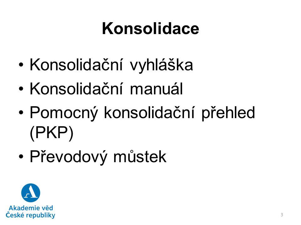 Konsolidace Konsolidační vyhláška č.312/2014 Sb., účinná od 1.