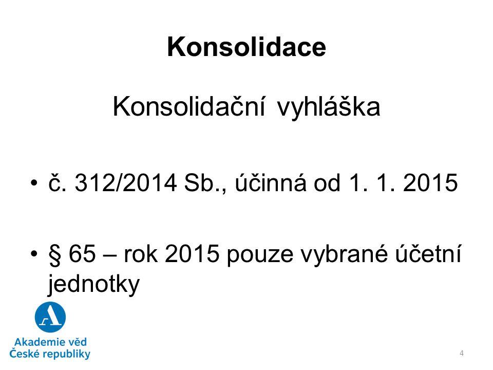 Konsolidace Konsolidační vyhláška č. 312/2014 Sb., účinná od 1. 1. 2015 § 65 – rok 2015 pouze vybrané účetní jednotky 4