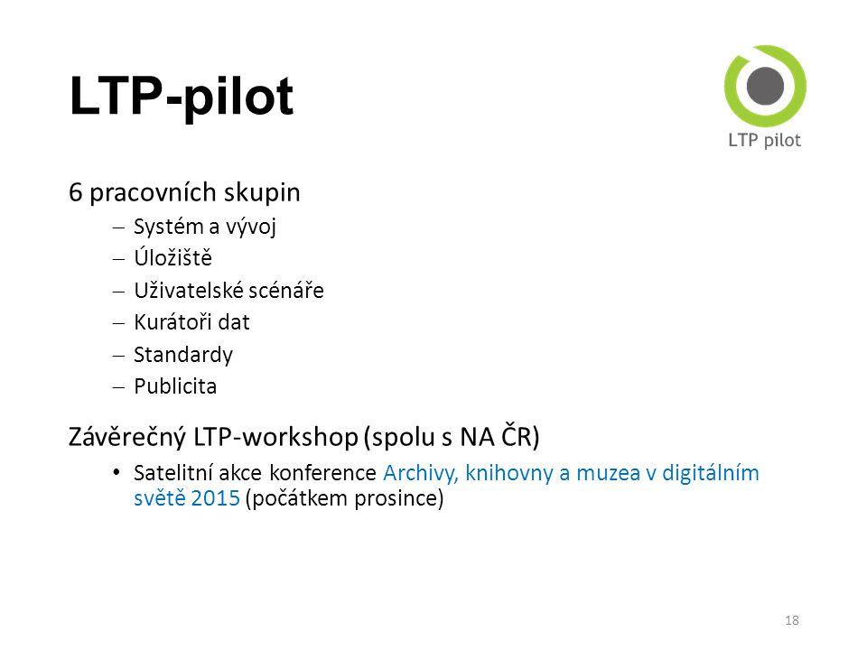 LTP-pilot 6 pracovních skupin  Systém a vývoj  Úložiště  Uživatelské scénáře  Kurátoři dat  Standardy  Publicita Závěrečný LTP-workshop (spolu s