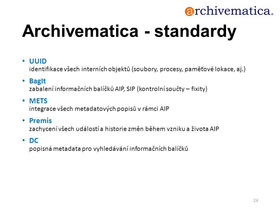 Archivematica - standardy UUID identifikace všech interních objektů (soubory, procesy, paměťové lokace, aj.) BagIt zabalení informačních balíčků AIP,