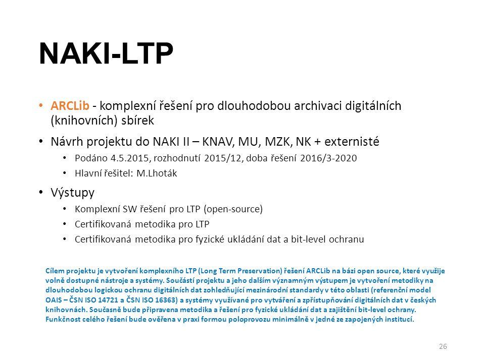 NAKI-LTP ARCLib - komplexní řešení pro dlouhodobou archivaci digitálních (knihovních) sbírek Návrh projektu do NAKI II – KNAV, MU, MZK, NK + externist