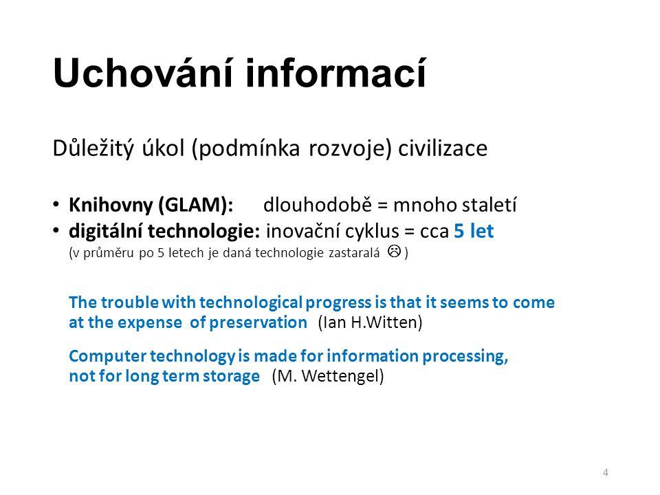 Uchování informací Důležitý úkol (podmínka rozvoje) civilizace Knihovny (GLAM): dlouhodobě = mnoho staletí digitální technologie: inovační cyklus = cc