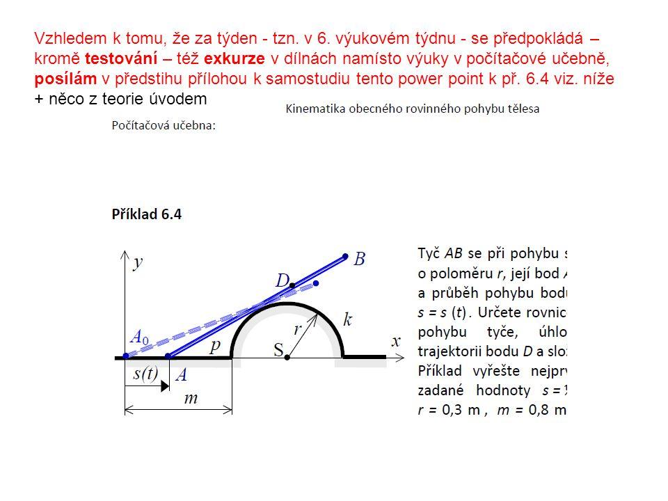 Kinematika obecného rovinného pohybu tělesa Dále řešení příkladu 6. : 1. 2. 3.