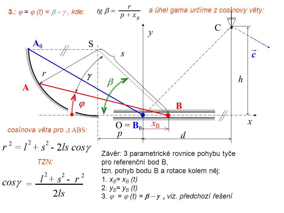 p C A0 A0 S r O = B 0 d c h y x B A xB xB   s  3.:  =  (t) = , kde: a úhel gama určíme z cosínovy věty: cosínova věta pro  ABS: TZN: Záv