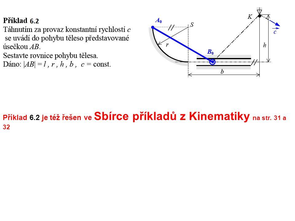 Příklad 6.2 je též řešen ve Sbírce příkladů z Kinematiky na str. 31 a 32