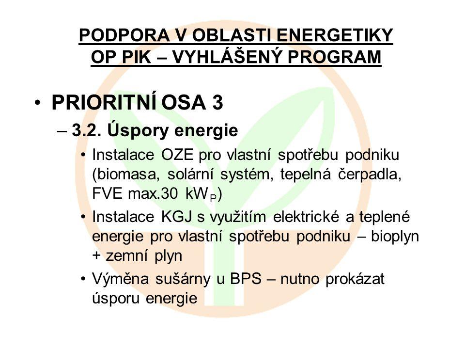 PODPORA V OBLASTI ENERGETIKY OP PIK – VYHLÁŠENÝ PROGRAM PRIORITNÍ OSA 3 –3.2. Úspory energie Instalace OZE pro vlastní spotřebu podniku (biomasa, solá