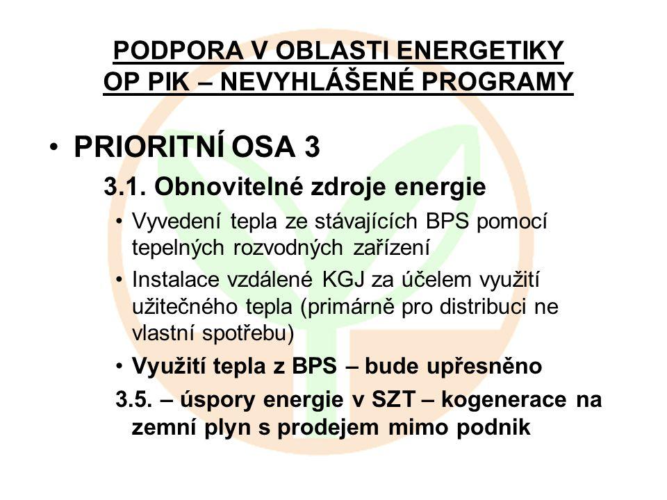 PODPORA V OBLASTI ENERGETIKY OP PIK – NEVYHLÁŠENÉ PROGRAMY PRIORITNÍ OSA 3 3.1. Obnovitelné zdroje energie Vyvedení tepla ze stávajících BPS pomocí te