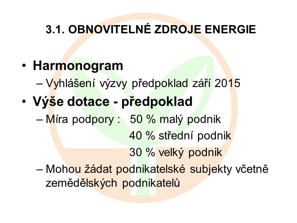3.1. OBNOVITELNÉ ZDROJE ENERGIE Harmonogram –Vyhlášení výzvy předpoklad září 2015 Výše dotace - předpoklad –Míra podpory : 50 % malý podnik 40 % střed