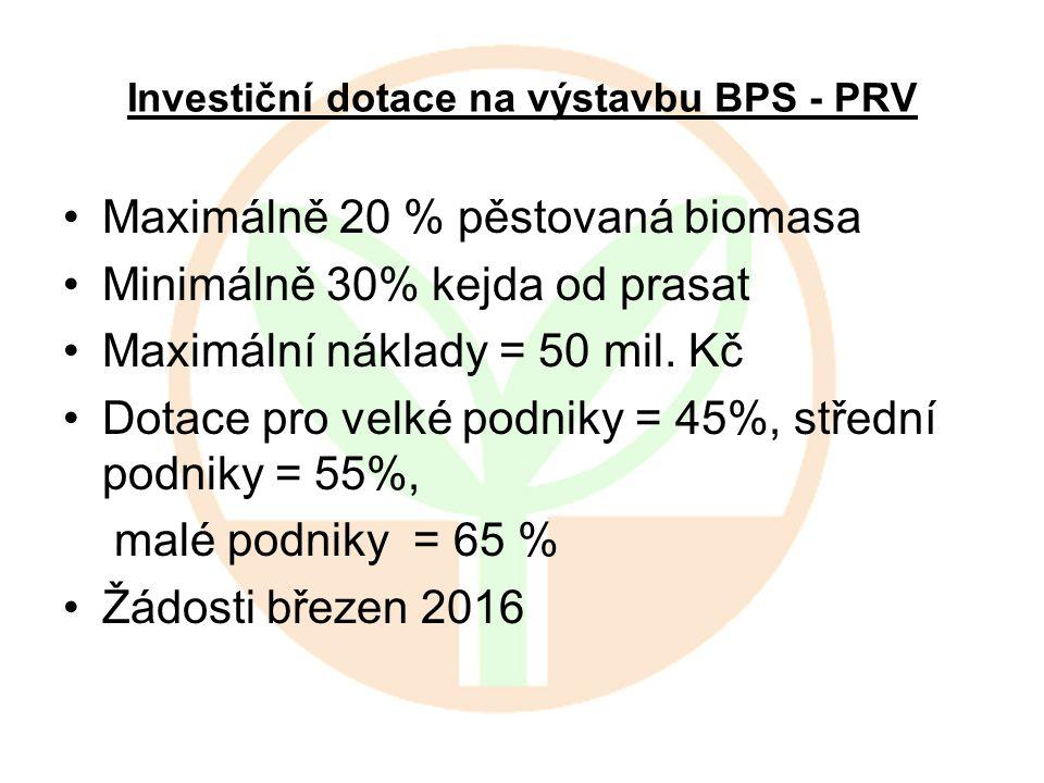 Investiční dotace na výstavbu BPS - PRV Maximálně 20 % pěstovaná biomasa Minimálně 30% kejda od prasat Maximální náklady = 50 mil. Kč Dotace pro velké