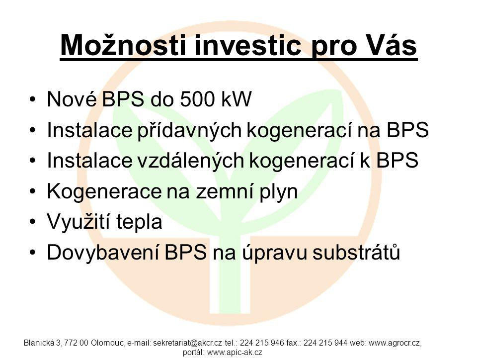 Možnosti investic pro Vás Nové BPS do 500 kW Instalace přídavných kogenerací na BPS Instalace vzdálených kogenerací k BPS Kogenerace na zemní plyn Vyu