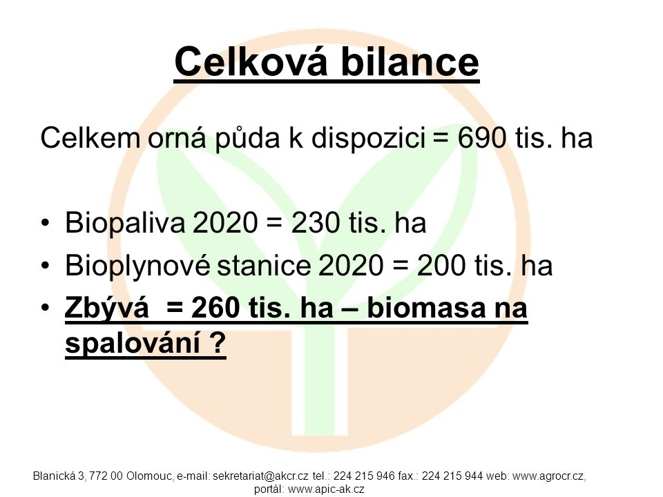 Celková bilance Celkem orná půda k dispozici = 690 tis. ha Biopaliva 2020 = 230 tis. ha Bioplynové stanice 2020 = 200 tis. ha Zbývá = 260 tis. ha – bi