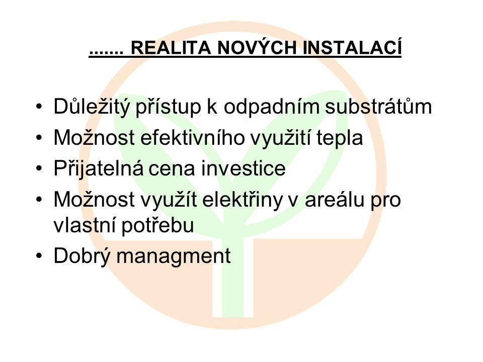 ....... REALITA NOVÝCH INSTALACÍ Důležitý přístup k odpadním substrátům Možnost efektivního využití tepla Přijatelná cena investice Možnost využít ele