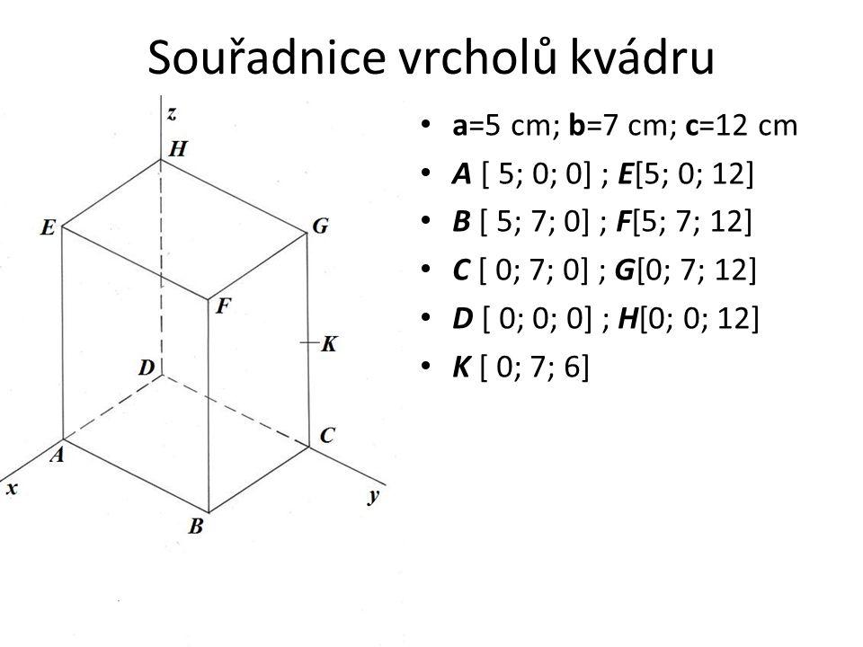 Souřadnice vrcholů kvádru a=5 cm; b=7 cm; c=12 cm A [ 5; 0; 0] ; E[5; 0; 12] B [ 5; 7; 0] ; F[5; 7; 12] C [ 0; 7; 0] ; G[0; 7; 12] D [ 0; 0; 0] ; H[0;