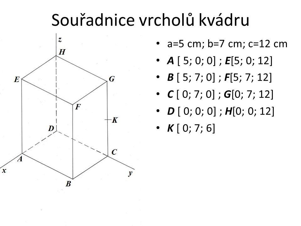 Souřadnice vrcholů kvádru a=5 cm; b=7 cm; c=12 cm A [ 5; 0; 0] ; E[5; 0; 12] B [ 5; 7; 0] ; F[5; 7; 12] C [ 0; 7; 0] ; G[0; 7; 12] D [ 0; 0; 0] ; H[0; 0; 12] K [ 0; 7; 6]