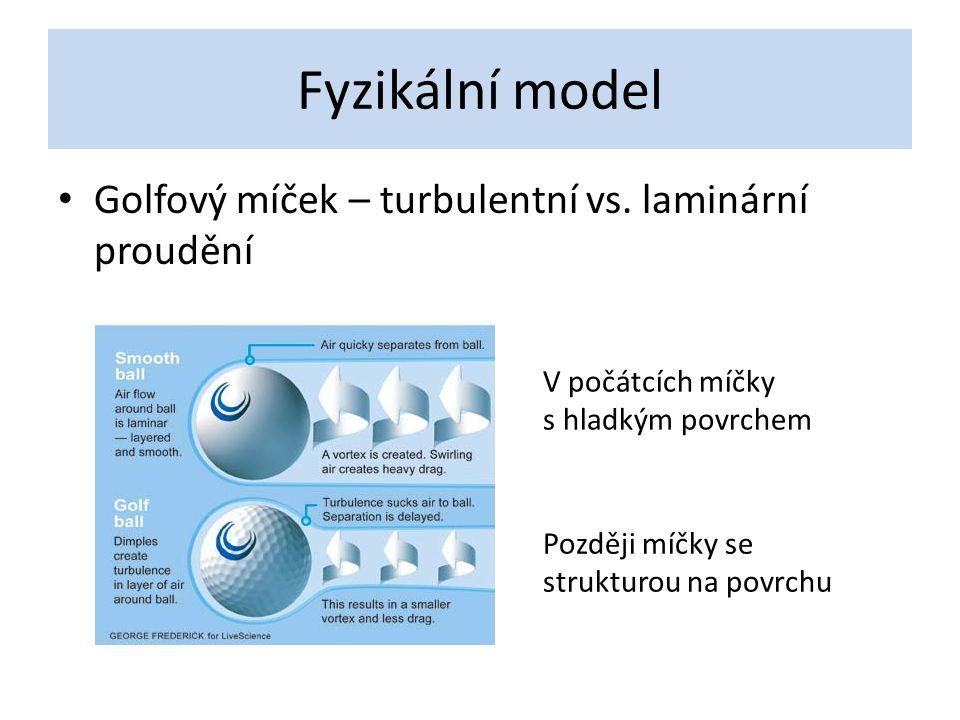 Fyzikální model Golfový míček – turbulentní vs. laminární proudění V počátcích míčky s hladkým povrchem Později míčky se strukturou na povrchu