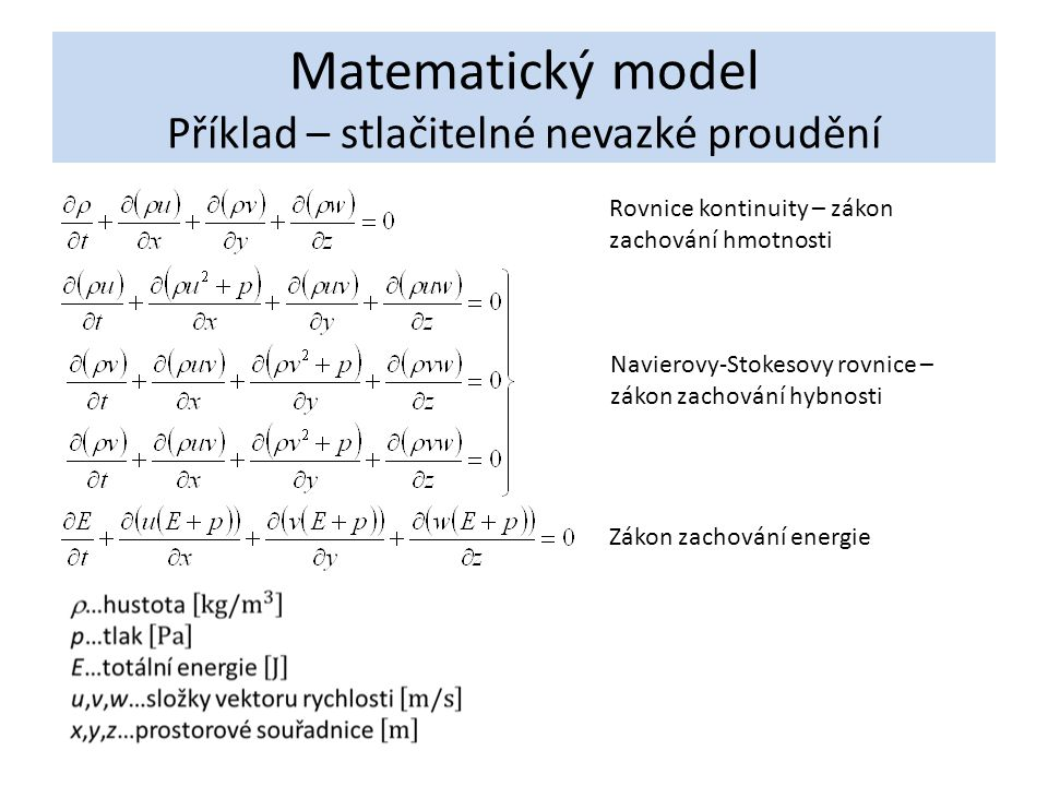Matematický model Příklad – stlačitelné nevazké proudění Rovnice kontinuity – zákon zachování hmotnosti Navierovy-Stokesovy rovnice – zákon zachování