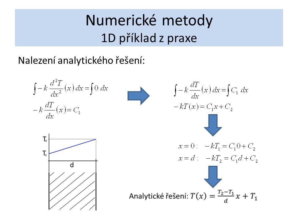 Numerické metody 1D příklad z praxe Nalezení analytického řešení: