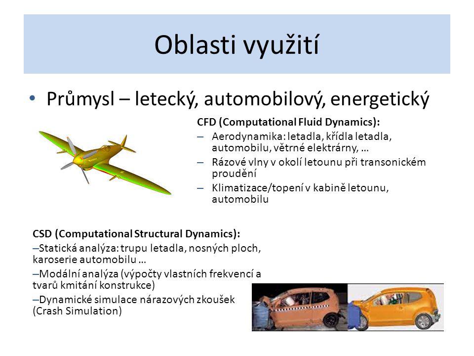 Oblasti využití Průmysl – letecký, automobilový, energetický CFD (Computational Fluid Dynamics): – Aerodynamika: letadla, křídla letadla, automobilu,