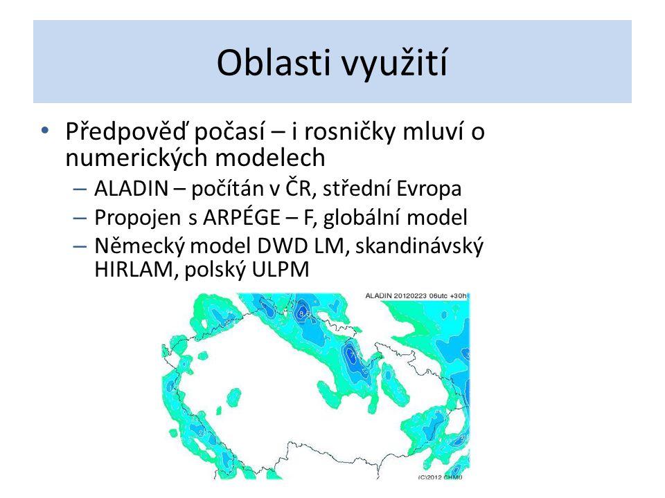 Oblasti využití Předpověď počasí – i rosničky mluví o numerických modelech – ALADIN – počítán v ČR, střední Evropa – Propojen s ARPÉGE – F, globální m