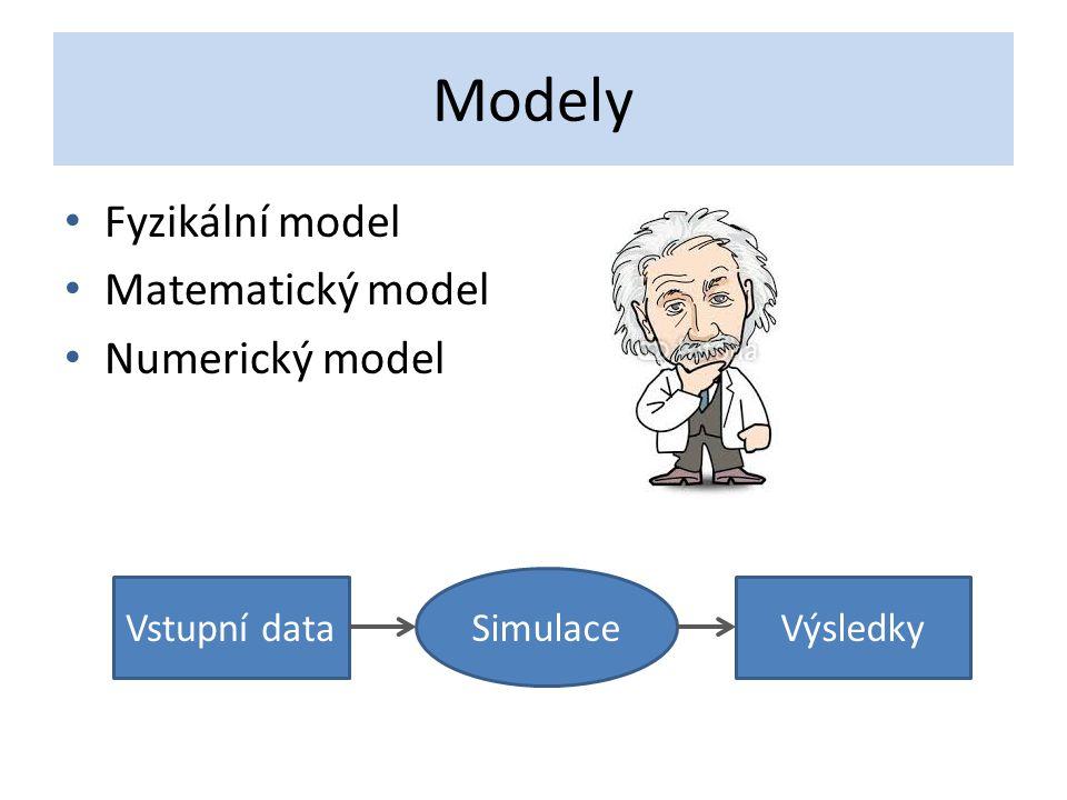 Modely Fyzikální model Matematický model Numerický model Vstupní data Simulace Výsledky