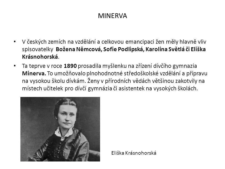 MINERVA V českých zemích na vzdělání a celkovou emancipaci žen měly hlavně vliv spisovatelky Božena Němcová, Sofie Podlipská, Karolina Světlá či Elišk