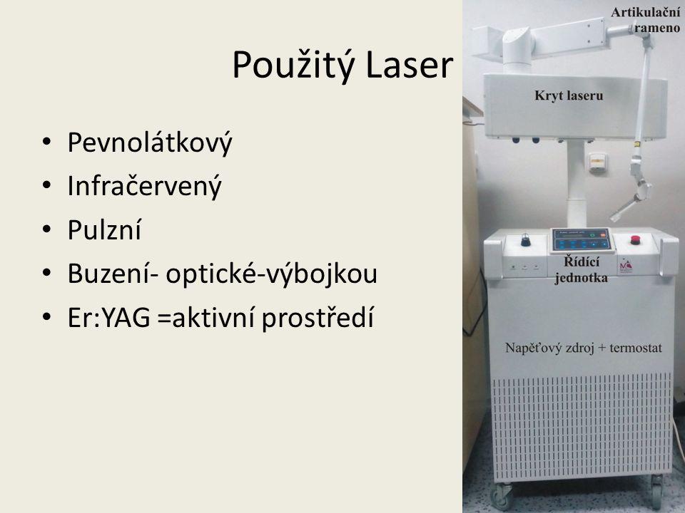 Použitý Laser Pevnolátkový Infračervený Pulzní Buzení- optické-výbojkou Er:YAG =aktivní prostředí
