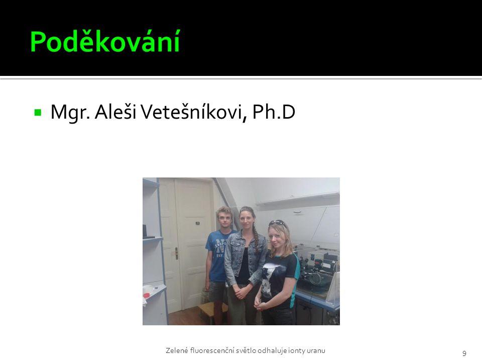  Mgr. Aleši Vetešníkovi, Ph.D Zelené fluorescenční světlo odhaluje ionty uranu 9
