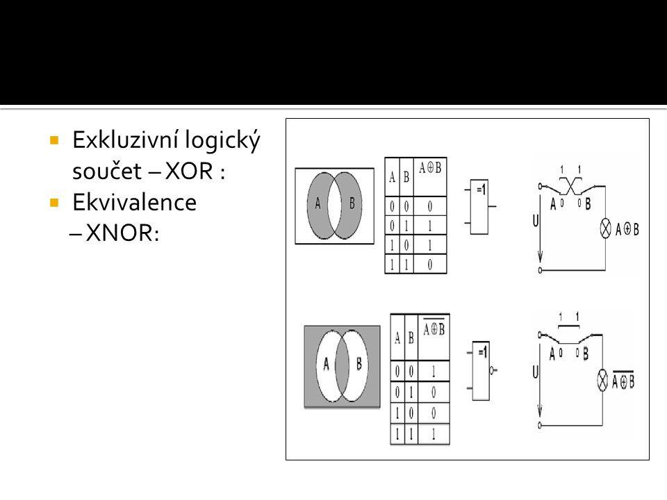  Exkluzivní logický součet – XOR :  Ekvivalence – XNOR: