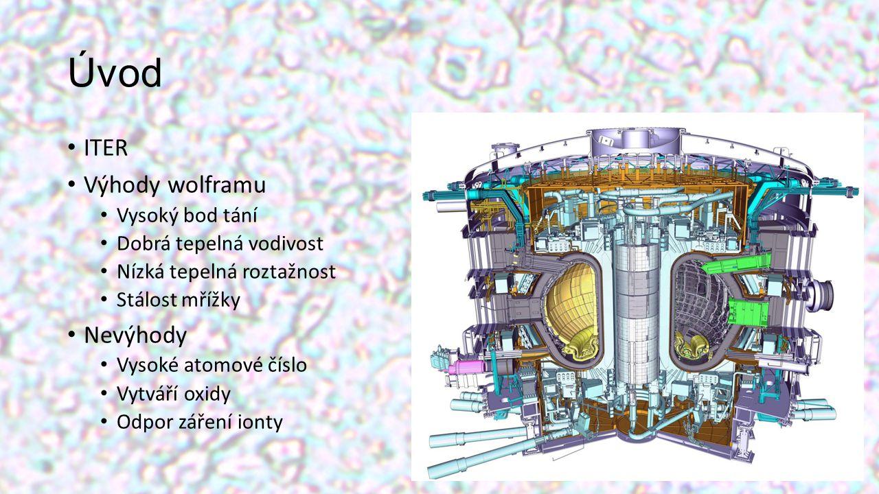 Úvod ITER Výhody wolframu Vysoký bod tání Dobrá tepelná vodivost Nízká tepelná roztažnost Stálost mřížky Nevýhody Vysoké atomové číslo Vytváří oxidy O
