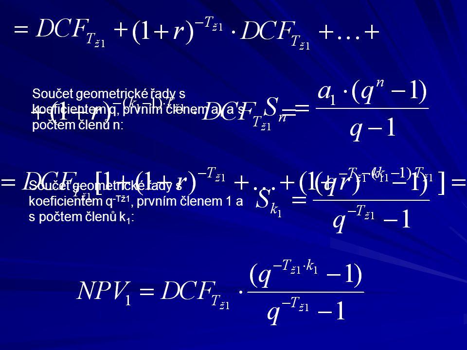 Součet geometrické řady s koeficientem q, prvním členem a 1 a s počtem členů n: Součet geometrické řady s koeficientem q -Tž1, prvním členem 1 a s počtem členů k 1 :
