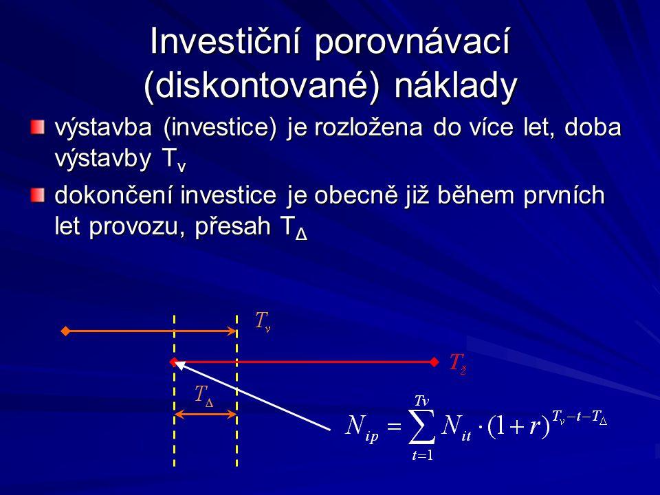 Investiční porovnávací (diskontované) náklady výstavba (investice) je rozložena do více let, doba výstavby T v dokončení investice je obecně již během prvních let provozu, přesah T Δ