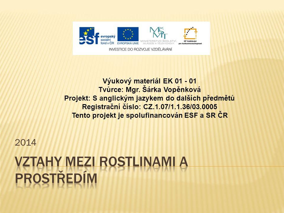 2014 Výukový materiál EK 01 - 01 Tvůrce: Mgr. Šárka Vopěnková Projekt: S anglickým jazykem do dalších předmětů Registrační číslo: CZ.1.07/1.1.36/03.00