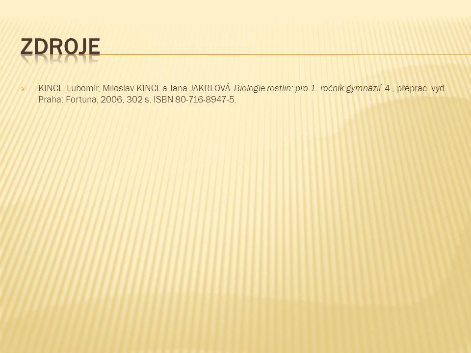  KINCL, Lubomír, Miloslav KINCL a Jana JAKRLOVÁ. Biologie rostlin: pro 1. ročník gymnázií. 4., přeprac. vyd. Praha: Fortuna, 2006, 302 s. ISBN 80-716
