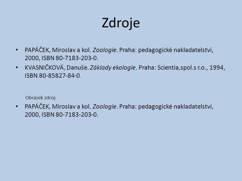 Zdroje PAPÁČEK, Miroslav a kol.Zoologie.