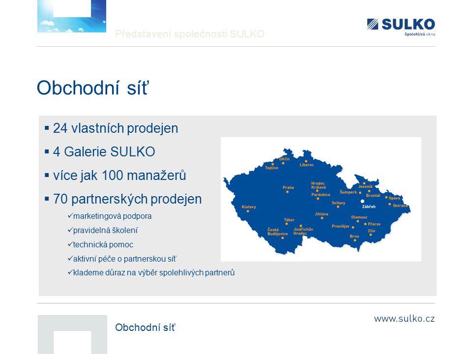 Představení společnosti SULKO Obchodní síť  24 vlastních prodejen  4 Galerie SULKO  více jak 100 manažerů  70 partnerských prodejen marketingová p