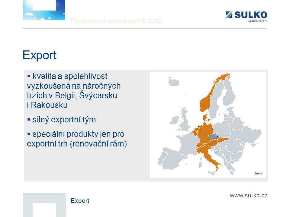 Představení společnosti SULKO Export  kvalita a spolehlivost vyzkoušená na náročných trzích v Belgii, Švýcarsku i Rakousku  silný exportní tým  spe