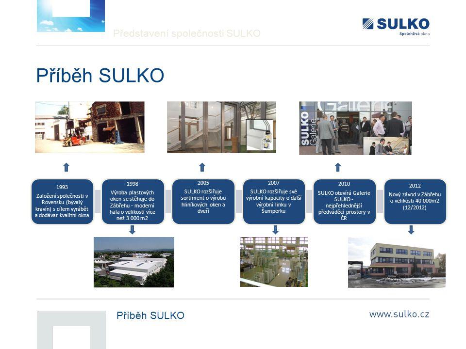 Představení společnosti SULKO Příběh SULKO 1993 Založení společnosti v Rovensku (bývalý kravín) s cílem vyrábět a dodávat kvalitní okna 1998 Výroba pl