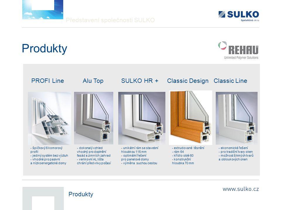 Představení společnosti SULKO Produkty PROFI Line Alu Top SULKO HR + Classic Design Classic Line - špičkový 6 komorový profil - jediný systém bez výzt