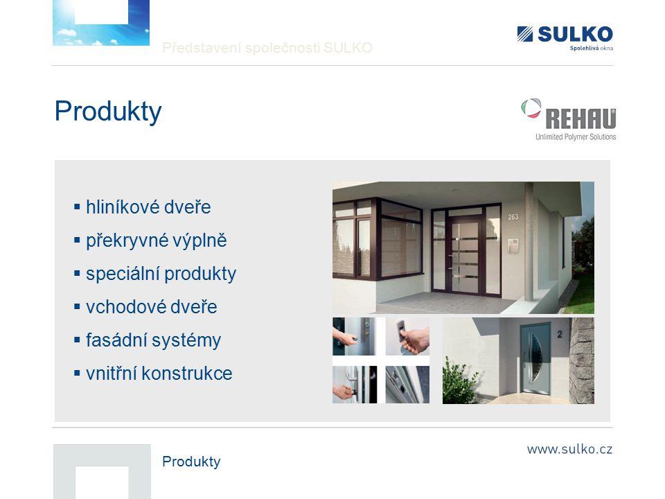 Představení společnosti SULKO Produkty  hliníkové dveře  překryvné výplně  speciální produkty  vchodové dveře  fasádní systémy  vnitřní konstruk
