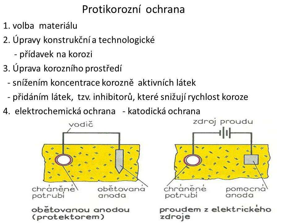 Protikorozní ochrana 1. volba materiálu 2. Úpravy konstrukční a technologické - přídavek na korozi 3. Úprava korozního prostředí - snížením koncentrac