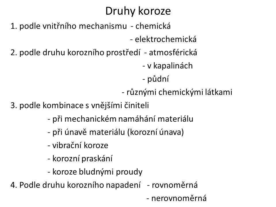 Druhy koroze 1. podle vnitřního mechanismu - chemická - elektrochemická 2. podle druhu korozního prostředí - atmosférická - v kapalinách - půdní - růz