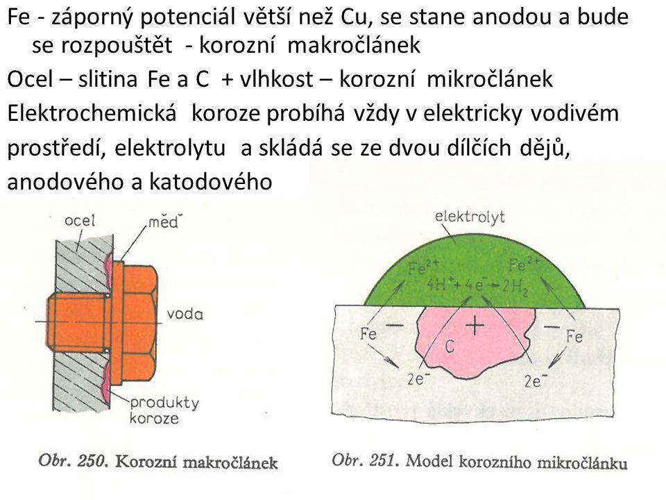 Fe - záporný potenciál větší než Cu, se stane anodou a bude se rozpouštět - korozní makročlánek Ocel – slitina Fe a C + vlhkost – korozní mikročlánek