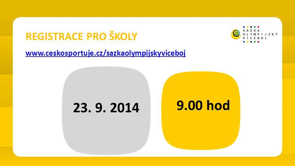 REGISTRACE PRO ŠKOLY www.ceskosportuje.cz/sazkaolympijskyviceboj 23. 9. 2014 9.00 hod