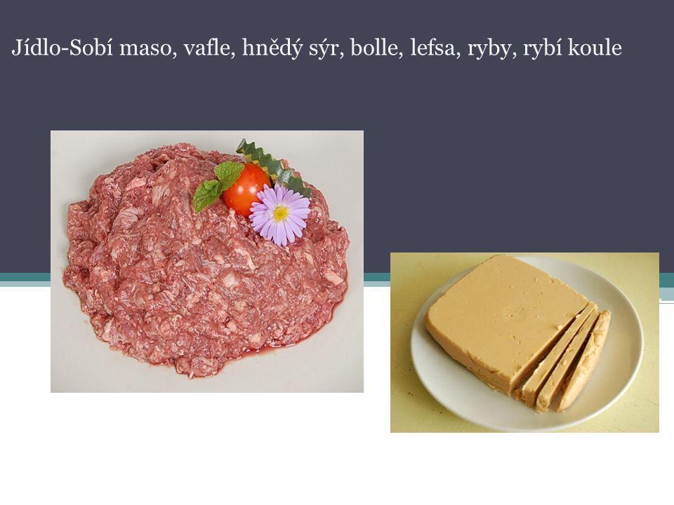 Jídlo-Sobí maso, vafle, hnědý sýr, bolle, lefsa, ryby, rybí koule