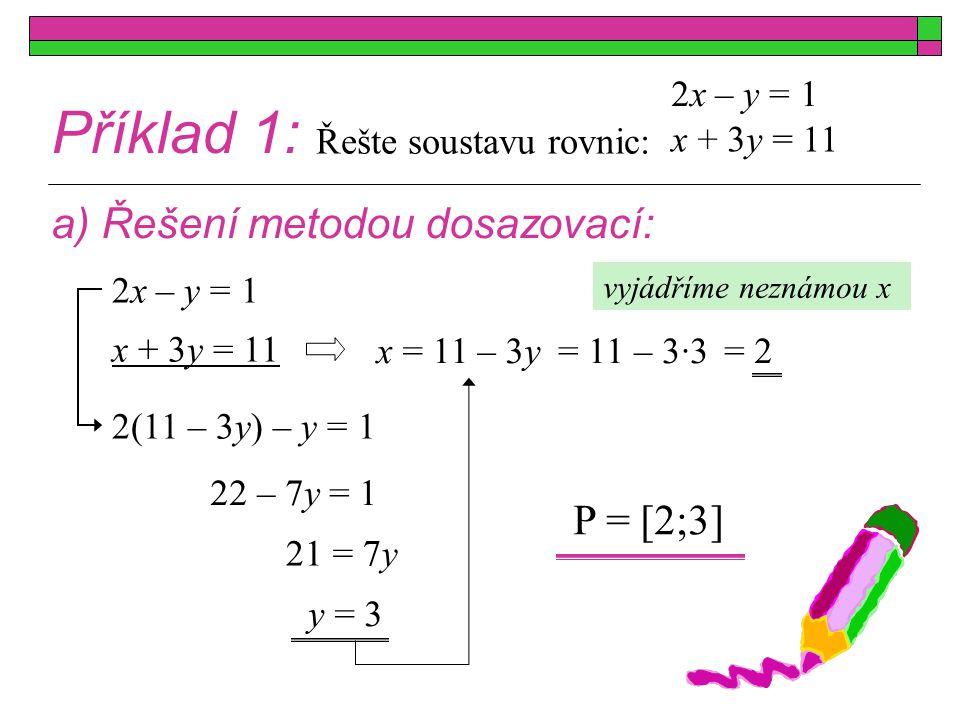 Příklad 1: b) Řešení metodou sčítací: x + 3y = 11 2x – y = 1 x + 3y = 11 2x – y = 1 7x = 14 x = 2 P = [2;3] vyloučíme neznámou y  3 x + 3y = 11 6x – 3y = 3 vyloučíme neznámou x x + 3y = 11 2x – y = 1 –7y = –21 y = 3  (–2) –2x – 6y = –22 2x – y = 1 Řešte soustavu rovnic: + +