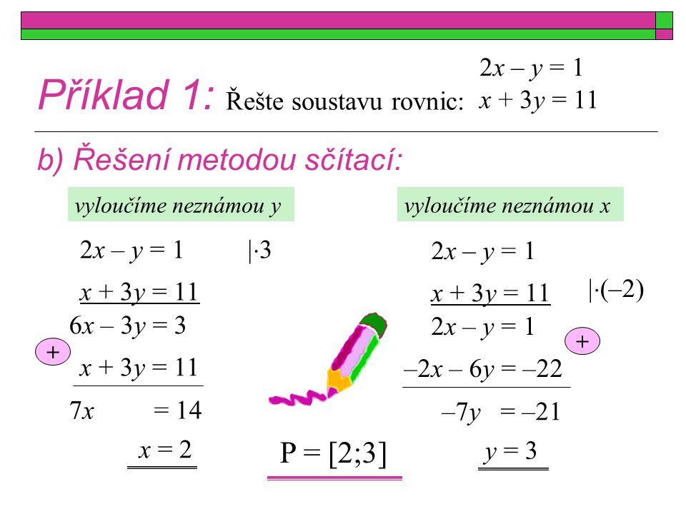 Příklad 1: c) Řešení metodou srovnávací: x + 3y = 11 2x – y = 1 x + 3y = 11 2x – y = 1 x = 2 y = 2x – 1 y = y 6x – 3 = 11 – x = 2·2 – 1= 3 P = [2;3] Poznámka: Metodu volíme dle zadání, lze také kombinovat metodu sčítací a dosazovací.