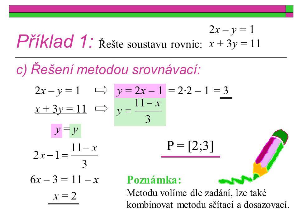 Příklad 1: c) Řešení metodou srovnávací: x + 3y = 11 2x – y = 1 x + 3y = 11 2x – y = 1 x = 2 y = 2x – 1 y = y 6x – 3 = 11 – x = 2·2 – 1= 3 P = [2;3] P